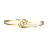 Solitário Ouro Amarelo 18 Quilates E Diamante De 5 Pontos!