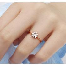 Anel Chuveiro Em Ouro Rosé 18k/750 E Diamantes!frete Grátis!