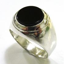 Anel Em Prata 925 Redondo Com Pedra Onix Natural - A1169