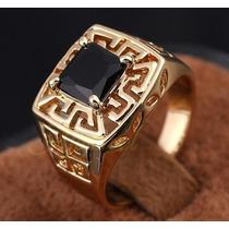 Anel Masculino Aro 28 Banhado Em Ouro Safira Negra - J1656e