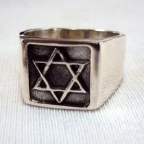 Anel Estrela De Davi Prata Maciça 925