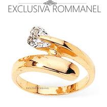 Rommanel Anel Fio Liso Com Zirconia Coracao Folh Ouro 510953
