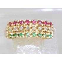 Boqueiraojoias Anel 3 Em 1 Diamantes Esmeralda Rubi Ouro 18k