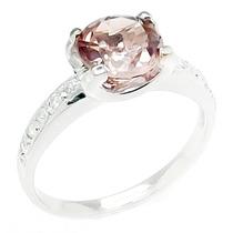Anel Em Ouro Branco C/ Turmalina Rosa E 10 Diamantes A318trd