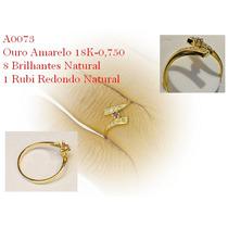Anel Estilo Solitário Ouro 18k Brilhantes, Rubi Natural