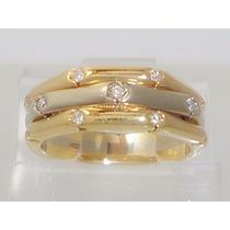 Boqueiraojoias Promoção Anel Ouro 18k-750 Com 11 Diamantes