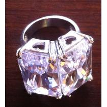 Anel Cristal/prata/ Quartzo Branco Aro 18 ( Banho Ródio)