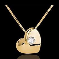 Colar Coração Ouro 18k Com Diamante 5 Pontos!!frete Grátis!!