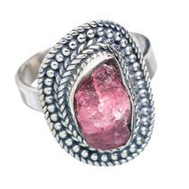 Pink Tourmaline, Turmalina Rosa 925 Plata Anel 6.25
