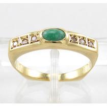 Esfinge Jóias- Anel Esmeralda Diamantes Aro14,5 Ouro 18k 750