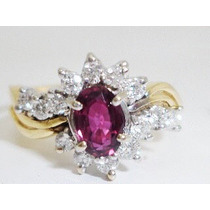 Boqueiraojoias Anel De Ouro 18k Com 14 Diamantes 1 Rubelita