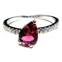 Iqa-anel Gota Falange Prata 925 Zirconia Pink Rosa Rodinado