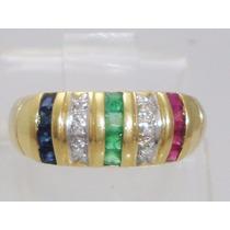 Boqueiraojoias Anel Ouro 18k Diamantes Esmeralda Rubi Safira