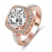 Anel Solitário Diamond Gigante Banhado Ouro Rosê18k Prata925