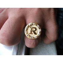 Anel Masculino Letra Inicial Em Ouro 18k Mais Diamantes