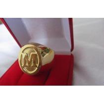 Anel Masculino Grandletra Inicial Em Ouro 18k Mais Diamantes