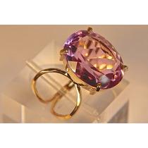 Rsp J2477 Anel Prata A Ouro Qtz Turmalina Rosa
