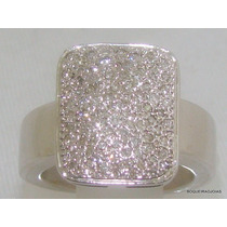 Boqueiraojoias Anel Pavê 100 Diamantes Ouro Branco 18k-750.