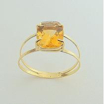 Anel De Ouro 18k Certificado Com Pedra Citrino Natural 1801