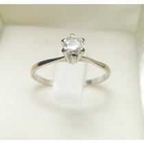 Anel Solitário Diamante 25 Pontos Ouro Branco 18k 750
