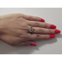 Anel Ouro 18k/750 Com Diamantes E Gota De Citrino