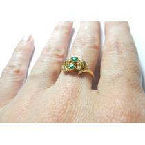 Anel 4 Diamantes 2 Esmeraldas Ouro 18k 750 Ouro Mesmo