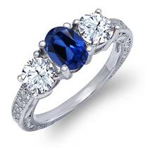 Anel De Prata Esterlina Com Safira Azul Fabricada