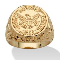Masculemo Americana Eagle Moeda Anel Em 14k Ouro--tamanho 13