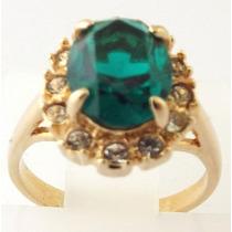 Anel Feminino Folheado Ouro 18k Com Pedras De Zircônio Cores