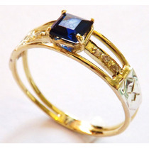 Anel Formatura Ouro18 K,safira Azul Natural E 6 Brilhantes