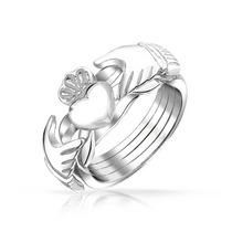 Bling Jewelry Banda Anel De Prata Coração De Claddagh Celt