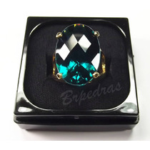 Anel C/ Pedra Grande Cristal Color Turmalina Paraiba B/ Ouro