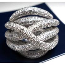 Hwe-anel Pave Trançado Prata 925 Zirconias Rodinado