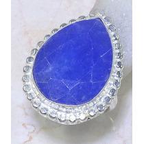 Anél Prata 925 Com Safira Azul Natural!!!