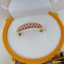 1914-318 Anel De Ouro 18k 750 Com Micro Zirconias Rubi Rpw