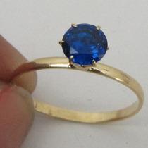 1209 Anel Solitário De Safira Azul Ouro 18k 750 Rpw