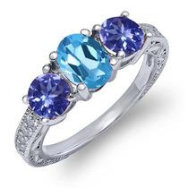 Topázio Azul Suíço Anel De Prata Sterling