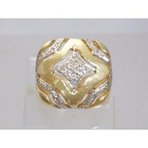 Boqueiraojoias! Promoção Anel De Ouro 18k Com 19 Diamantes