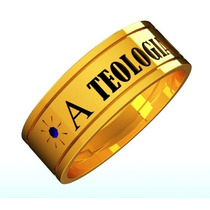 Anel Teologia Ouro 18k C 2 Pedras Ametistas Naturais Unissex