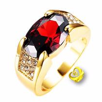 Kit Anel Masculino Folheado Ouro 18k Zirconia Rubi Vermelha