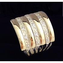 Anel Em Prata 950 Com Zircônias E 4 Apliques De Ouro