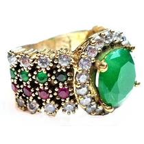 Gpz-anel Turquia Turco Prata 925 Jade Esmeralda Rubi Zircon