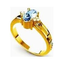Anel Formatura Ouro 18k, Pedra Natural E 6 Diamantes,