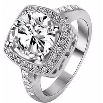 Anel Ouro Branco Com Pedra - Jóia Noivado Namorada R710