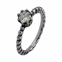 Anel Solitário Estilo Pandora Com Pedra Em Prata 925