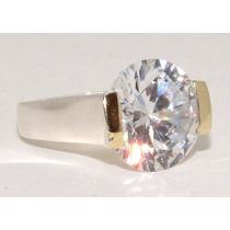 Anel Solitário Grande Pedra De Prata 950 Aplique De Ouro