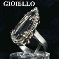 Anel Quartzo Cristal Quartzo Natural Gota Prata 925 P1122
