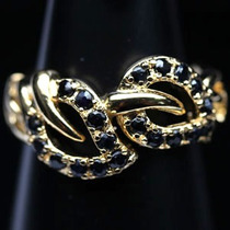 Anel Prata 925 E Ouro Amarelo 14k E Safiras