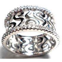 Iop-anel Aliança Prata 925 Zirconias Rodinado