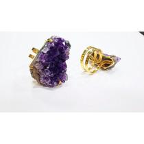 Anel Regulável Pedra Drusa De Ametista Verdadeira /jóia